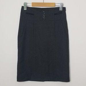 Vera Moda   High Waist Pencil Skirt Plaid Black 6